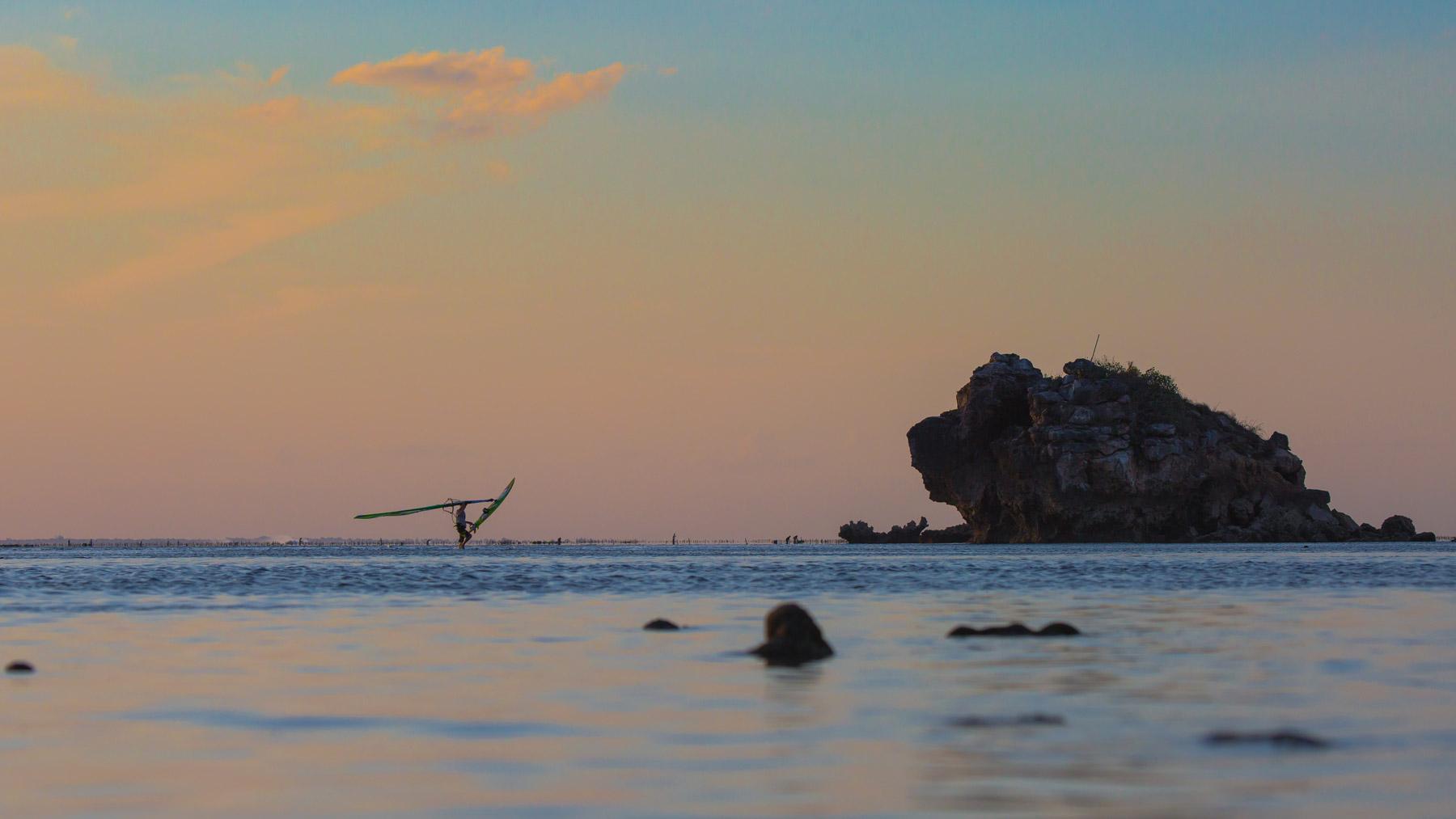 windsurfing finished at sunset