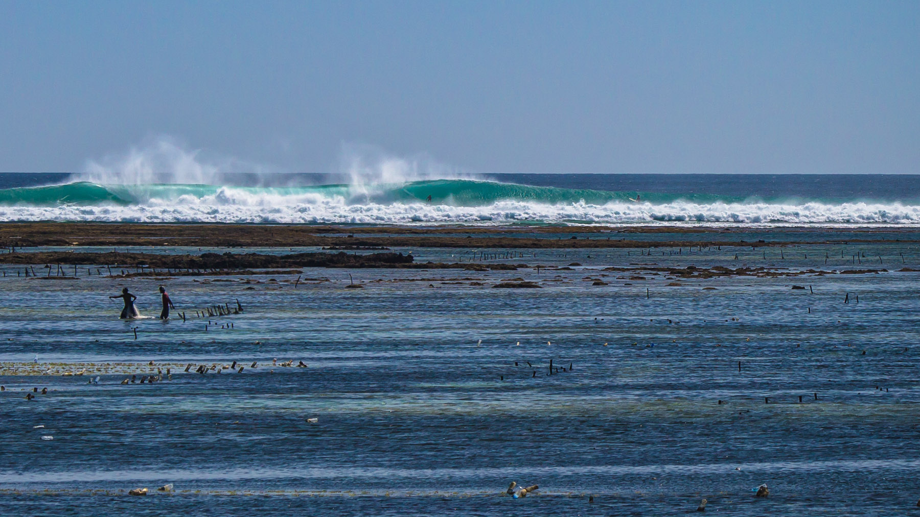 perfect empty waves at this remote surf spot